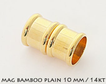 MAGNETIC CLASP 10mm  14K Gold Plated. 10mm  Kumihimo Jewelry, Leather