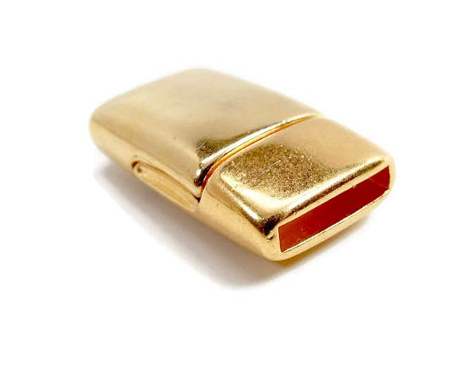MAGNETIC CLASP Rounded Flat 10mm Bright Gold Leather Kumihimo