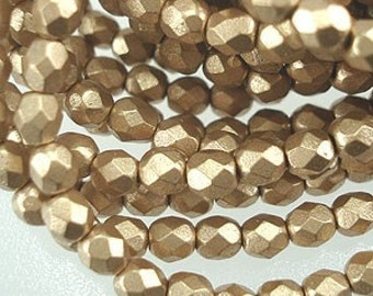 Fire Polished Czech Glass Beads,  Matte Metallic Flax, Aztec Gold  Strand of 50
