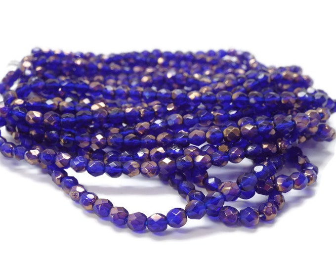 Firepolished  Czech Glass Beads, 4 mm, COBALT COPPER,   Strand of 50