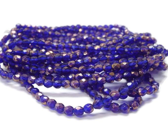 4MM Fire Polished Czech Glass Beads, COBALT COPPER,   Strand of 50