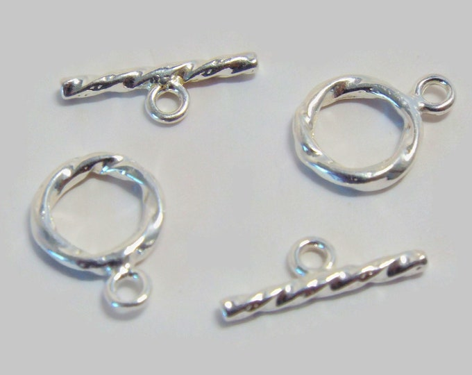Small Toggle Clasp, 9mm, Silver Plate, 1 pair