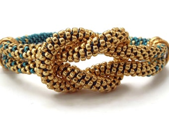 Love Knot Beaded Kumihimo Bracelet