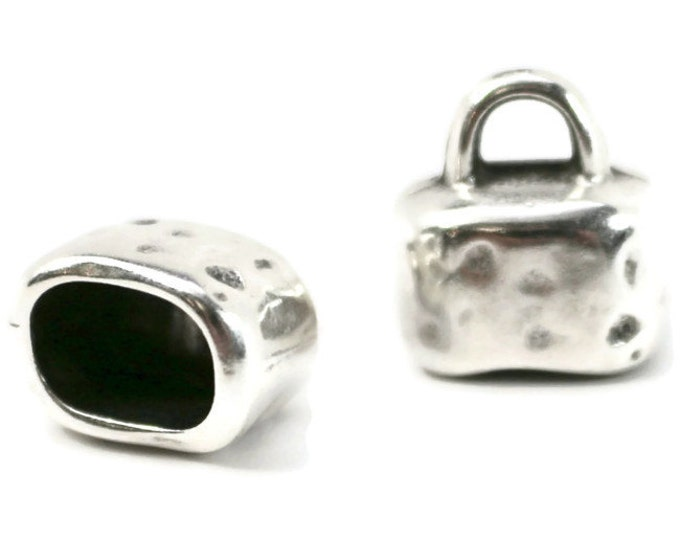 End Cap,  Hammered Oval, 10x7mm opening, Antique Silver,  Use with Two 5mm Cord Kumihimo Love Knot or Leather  SET OF 2