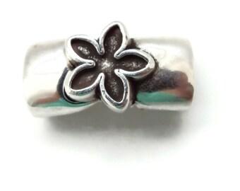 ANTIQUE SILVER Floral Motif Magnetic Clasp End Cap  CUTE! 10x7mm