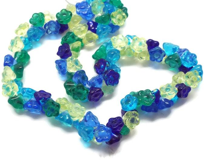Flower Bead Lagoon Mix 7MM Pressed Glass Czech Republic 50 Beads
