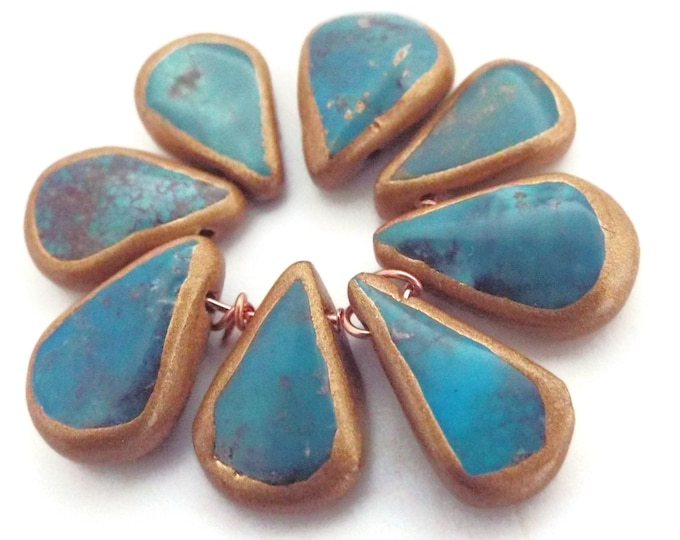 LOT #1 African Turquoise Teardrop Beads, Gold Gilded Edges
