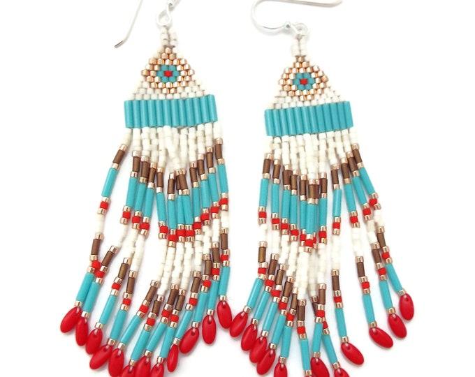 Beaded Fringe Earrings, Southwest Style, Native American, Long Dangles, Boho, Hippy