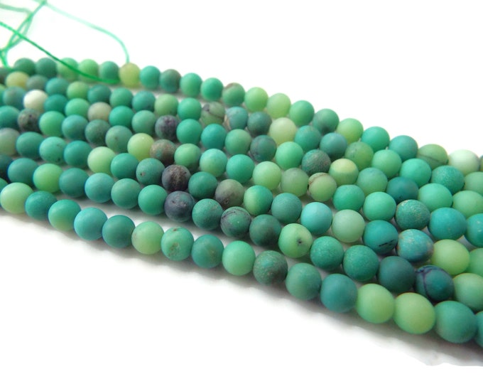 "4mm Matte Chrysoprase Beads AAA Quality. 15"" Strand"