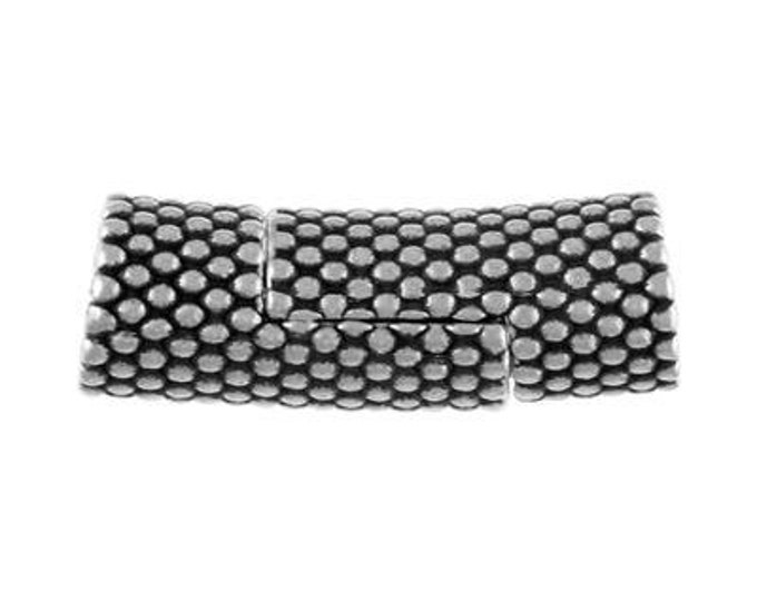 5mm Tube Magnetic Clasp,  Dotted Texture,  Antique Silver