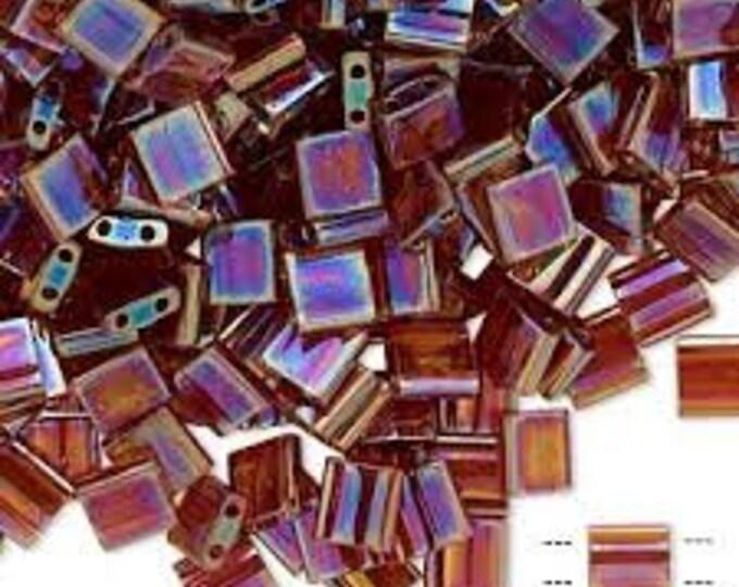 Tila 2 Hole Square Bead 5MM, Trans. Topaz AB, 7.2 gram Tube, Miyuki TL275