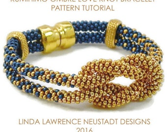 PATTERN KUMIHIMO  BRACELET Tutorial  Two Color Ombre Love Knot