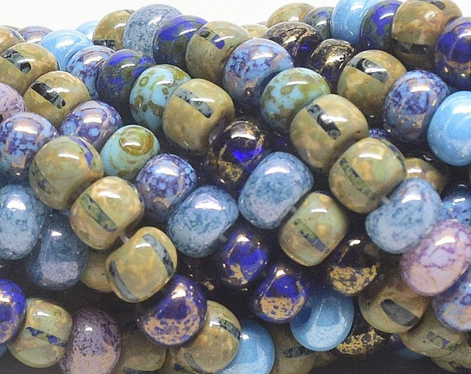 3/0, 7mm, Aged Stripped Picasso Mix, Czech Seed Beads ,Approx. 95 Beads per Stand
