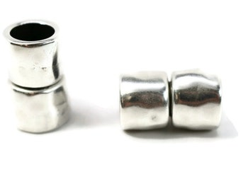 MAGNETIC CLASP, Round 8MM, HAMMERED Siver Finish for Large Kumihimo Braids, Leather