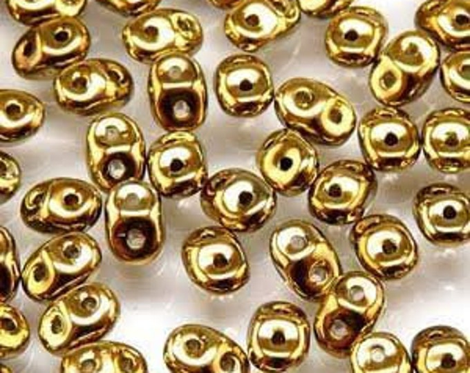 SuperDuo Czech Glass Two Hole Beads,  FULL AMBER GOLD, Seed Beads, 10 grams 2.5x5mm