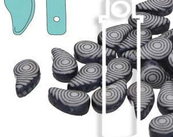 Paisley Duo Finger Print Beads 8X5mm Black and White 10grams