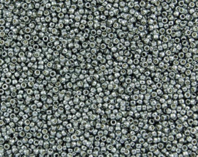 11/0 Toho, PF565,  Metallic Silver Grey Blue, PermaFinish  20grams