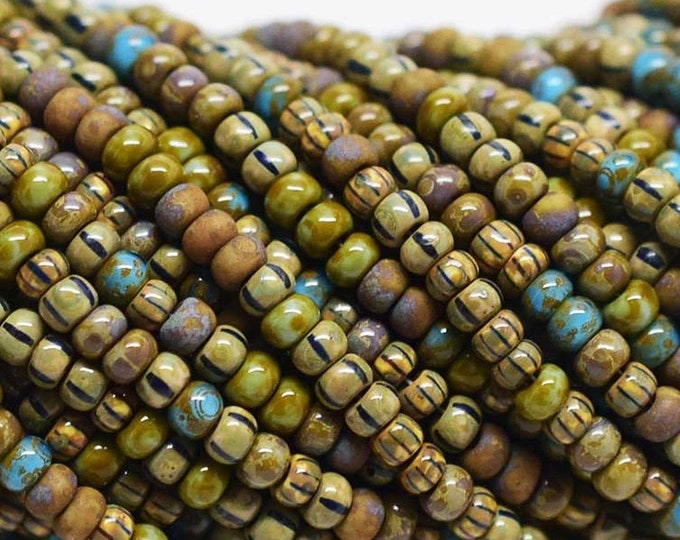 8/0 Seed Beads, Rustic, Aged Stripped Picasso Mix, Czech Seed Beads