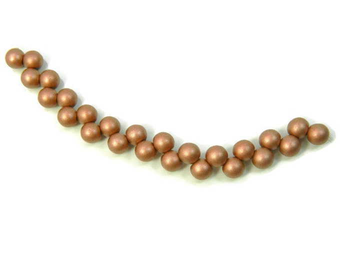 Czech Glass, 6mm Round, TOP DRILLED  Metallic Clay, Strand of 25