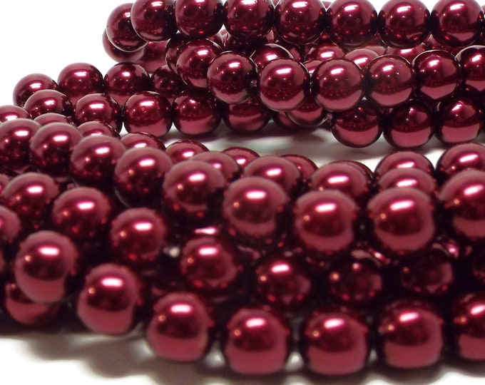 8MM BURGUNDY Round Czech Glass Pearls, 75 Pearls/Strand