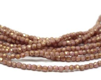 Firepolish Beads 2mm, Czech Glass,  Opaque ROSE GOLD TOPAZ Luster Strand of 50