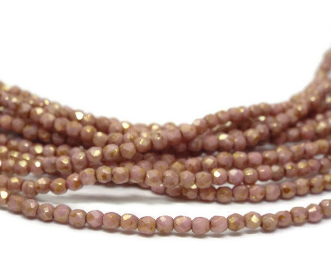 Firepolish Beads 2mm, Czech Glass,  Opaque ROSE GOLD TOPAZ Luster Strand of 50