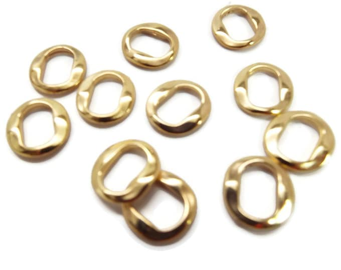 SLIDER SPACER BEAD Dimpled Wavy Narrow Bead Bright Gold for Love Knot,  Leather Jewelry  Set of 10  #80900012