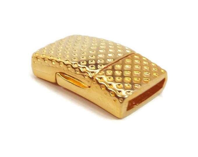 MAGNETIC CLASP Flat Dotted Texture  Bright Gold 10x2mm