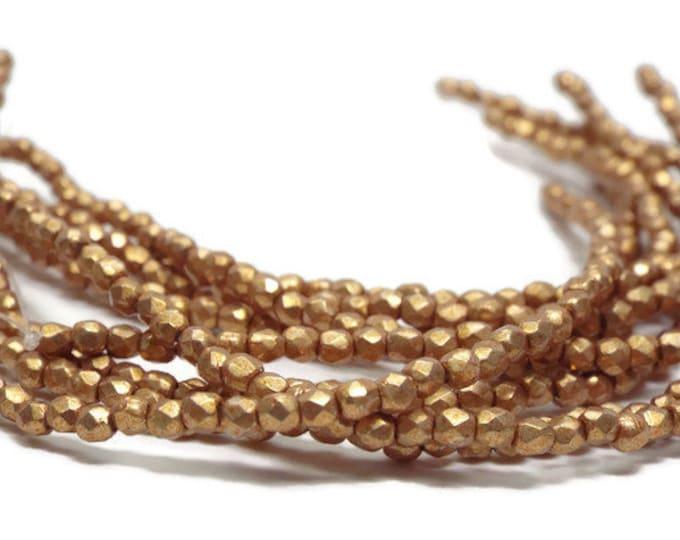 2mm, Firepolish Beads, Czech Glass,  Saturated Metallic FLAME Strand of 50