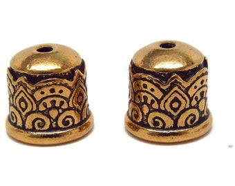 6mm Tierra Cast Temple End Cap.  Antique Gold  BRAND NEW. Priced per Pair