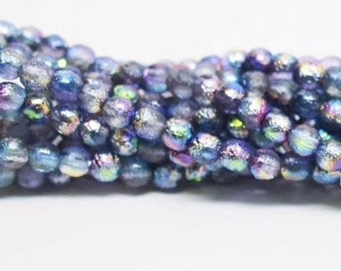 4mm Smooth Druk, ETCHED MAGIC BLUEBERRY, 50 Beads per Strand