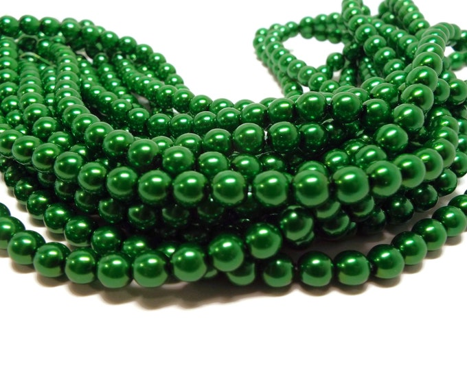 6MM, Christmas Green,  Round Czech Glass Pearls, 75 Pearls/Strand