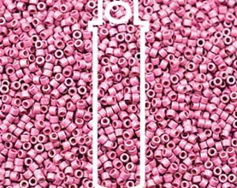 11/0 Delica DB-1840F, Duracoat Galvanized Matte Hot Pink, 7.2 gram Tube
