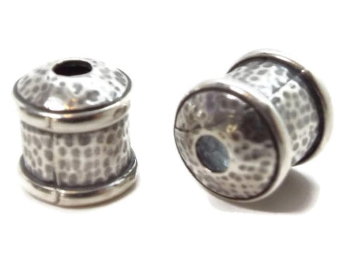 END CAP, 9mm with Textured Finish Antique Silver Priced per Pair