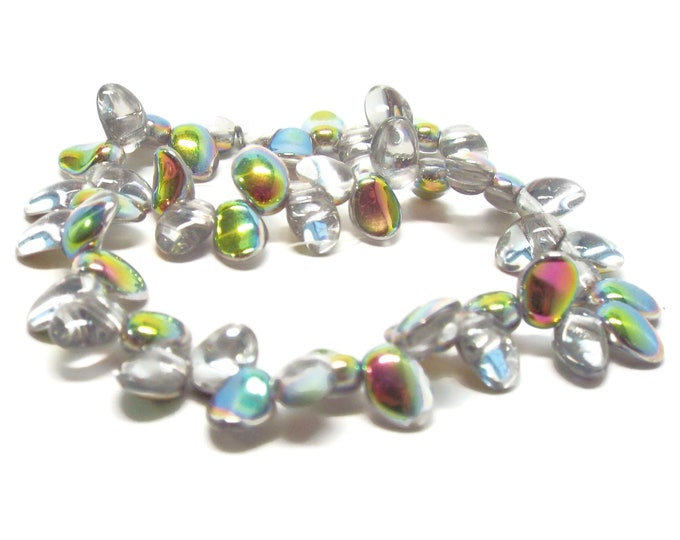 Czech Tulip Petal Beads, Crystal Vitral, 50 Beads per Strand