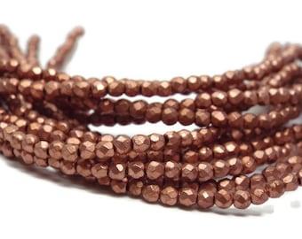2MM Fire Polished Beads, Czech Glass, Matte Metallic Bronze Copper  Strand of 50