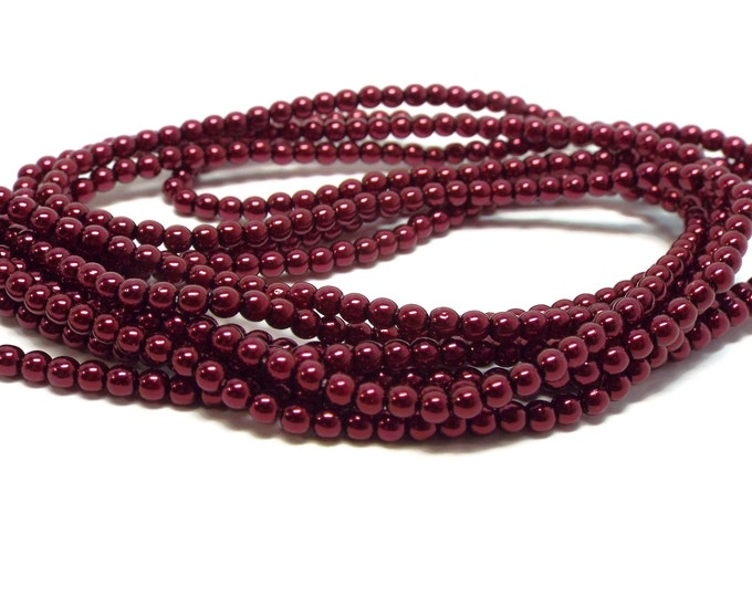 3mm BURGUNDY Round Czech Glass Pearls, 150 Pearls/Strand