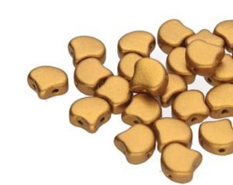 GINKO 2 Hole Beads 7.5MM BRONZE GOLD  30 Beads