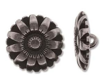 BUTTON FLOWER  Set of 2,  17mm Antique Silver, Antique Copper, Antique Gold