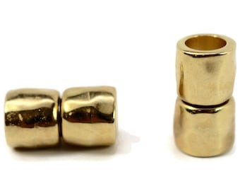 8mm Magnetic Cylinder Clasp,  HAMMERED Texture, Bright Gold Finish Magnetic Clasp for Large Kumihimo Braids, Leather