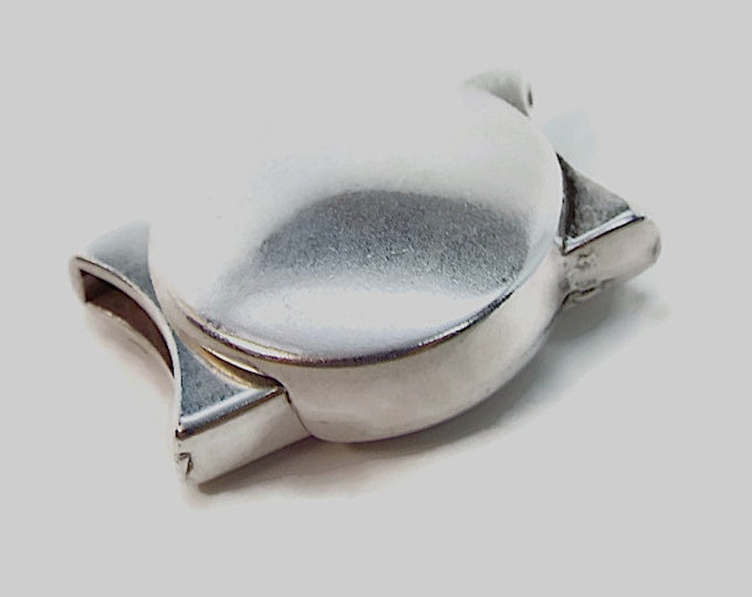 Magnetic Clasp with High Polished Silver Finish, Contemporary, Modern, 10mmx2mm