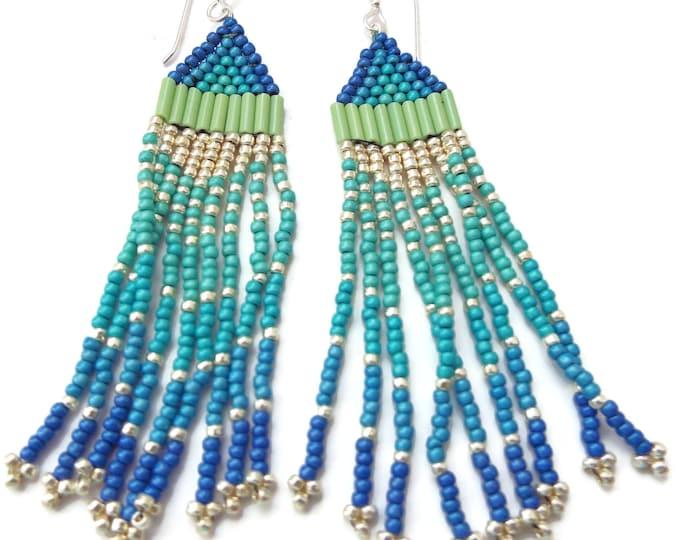 Beaded Fringe Earrings, Southwest Style, Ombre, Long Dangles, Boho