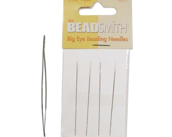 "SHORT Big Eye Beading Needle, 2.125"", 4 PACK"