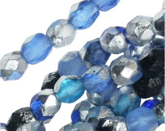 4MM Czech Fire Polished Glass Beads, Faceted Round, Blue Tone Mix and Etched Labrador. 40 Beads