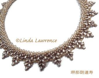 Necklace, Kumihimo Beaded Fringe Collar Satin Glow