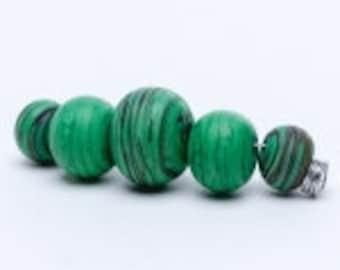Unicorn Marble Beads, Envious #24158,  # 5 Graduated Beads per Set
