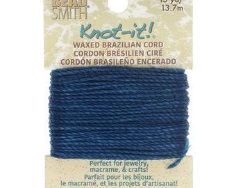 Knot It Waxed Brazillian Cord, 2 ply Polyester, 15 yards, choose Ocean Blue, Burgandy, Black