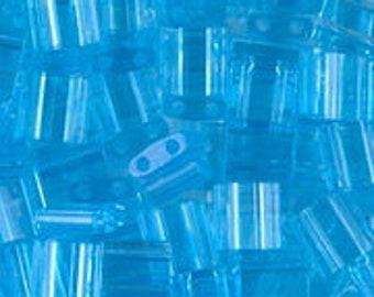 Tila 2 Hole Square Bead 5MM, Transparent Light Blue, Miyuki TL148, 7.2 gram Tube