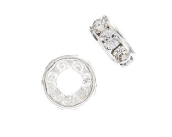 Rondelle Beads,  Preciosa 8mm Large Hole, Silver & Crystal, 5 pieces