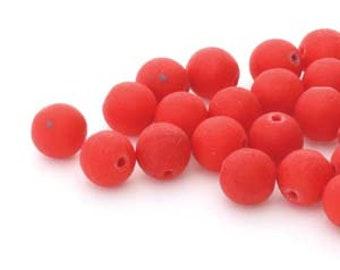 8MM Lava Etch Czech Glass Round Druk, Red, 20 Beads
